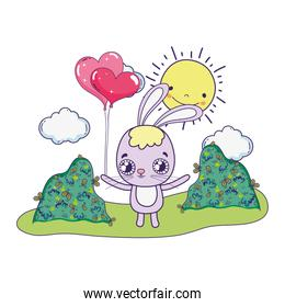 cute rabbit with baloons helium valentines day