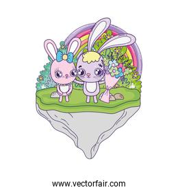 cute rabbits couple with flowers valentines day