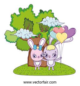 cute rabbits couple with balloons helium valentines day