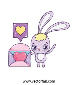 cute rabbit valentines day with envelope