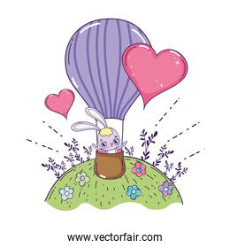 cute rabbit flying in balloon air hot valentines day