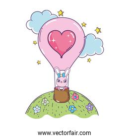 cute rabbit girl flying in balloon air hot valentines day