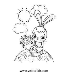cute rabbit with flowers boucket valentines day