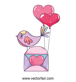 birds and envelope with heart shaped party balloons