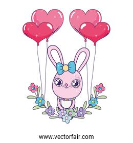 cute rabbit with balloons helium valentines day