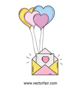 envelope with balloons helium heart shape