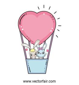 rabbits couple flying in balloon air hot valentines day