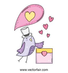 cute little bird with envelope lovely character