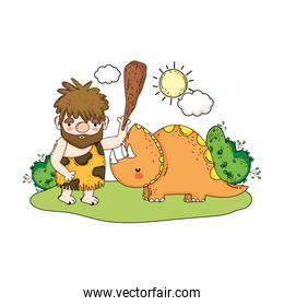 caveman with dinosaur in the landscape