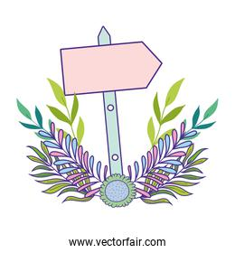 cute arrow guide wooden with flowers