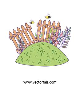 cute wooden fence in the garden