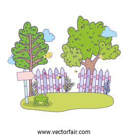 cute arrow guide wooden with tree in landscape