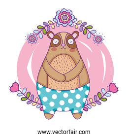 cute bear with floral decoration