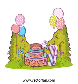 beautiful landscape with party cake and balloons helium