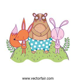 cute bear rabbit and fox in the landscape