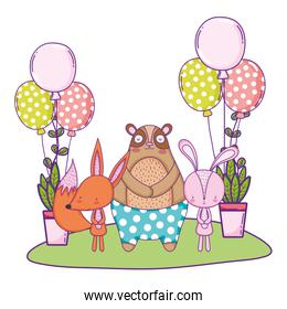 bear rabbit and fox with balloons helium in the landscape