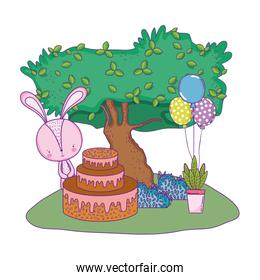 rabbit with sweet cake and balloons in the landscape