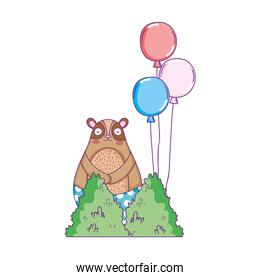 cute bear with balloons helium floating
