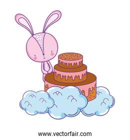 cute little rabbit with sweet cake