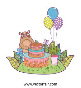 cute bear with sweet cake and balloons helium
