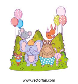 cute animals with balloons helium in the landscape