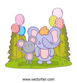 cute and little elephant with mouse