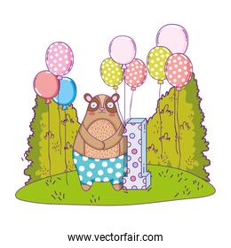 cute bear with balloons helium in the landscape