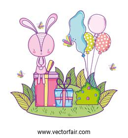 cute little rabbit with balloons helium in the landscape