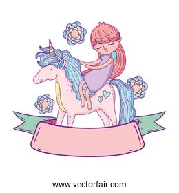 little unicorn and princess with flowers isolated icon