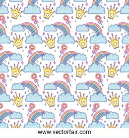 clouds and rainbow kawaii characters