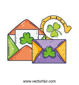 envelope with clover and horseshoe st patrick invitation