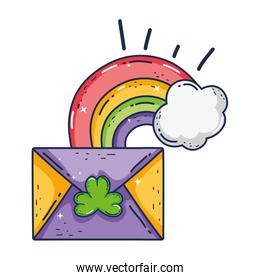 envelope with clover and rainbow st patrick invitation