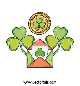 envelope with clover with coin st patrick invitation