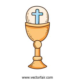sacred chalice with first communion