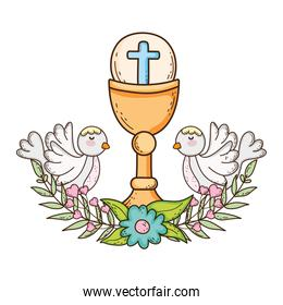 sacred chalice religious with doves birds