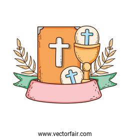 holy bible book with chalice