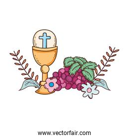 sacred chalice religious with grapes
