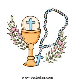 sacred chalice with rosary