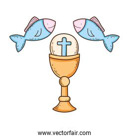 sacred chalice with fishes