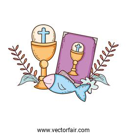 sacred chalice with holy bible