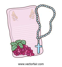first communion card with rosary