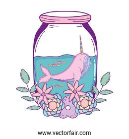 cute narval in mason jar with wreath flowers