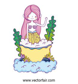 beautiful mermaid with tub in clouds