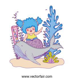 beautiful mermaid with narval fairytale character