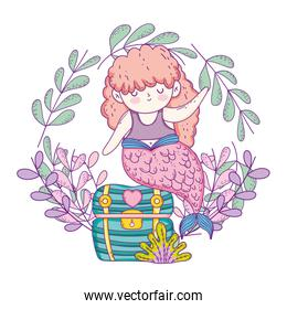 smiling mermaid with treasure chest and wreath