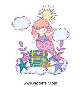 beautiful mermaid with treasure chest in clouds