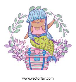 mermaid with treasure chest and wreath
