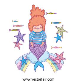 beautiful mermaid with starfishes in clouds