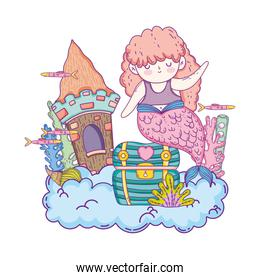 beautiful mermaid with castle and treasure chest