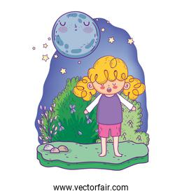 cute little girl with moon kawaii in the landscape
